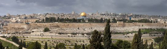 Mening over Jeruzalem met de Koepel van de Rots van het Onderstel van Olijven israël royalty-vrije stock afbeeldingen