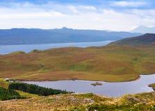 Mening over landschap die Storr, Eiland omringen van Skye, Schotland Royalty-vrije Stock Afbeeldingen