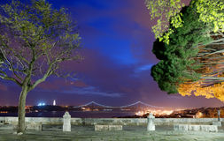 Mening over Lissabon van castelo DE sao Jorge Stock Foto's