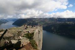 Mening over Lysefjord, Noorwegen Royalty-vrije Stock Foto's
