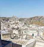 Mening over Matera, een Unesco-plaats in basilicata Stock Fotografie