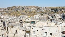 Mening over Matera, een Unesco-plaats in basilicata, Italië Royalty-vrije Stock Afbeeldingen