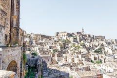 Mening over Matera, een Unesco-plaats in basilicata Italië Stock Afbeeldingen