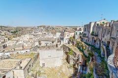 Mening over Matera, een Unesco-plaats in basilicata Italië Stock Fotografie
