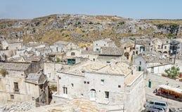 Mening over Matera, een Unesco-plaats in basilicata Italië Stock Foto