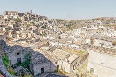 Mening over Matera, een Unesco-plaats in basilicata Italië Royalty-vrije Stock Foto's