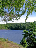 Mening over meer Ladoga Stock Foto's