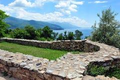 Mening over Meer Ohrid, Macedonië Royalty-vrije Stock Afbeelding