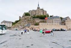 Mening over Mont Saint-Michel, Frankrijk Stock Afbeelding