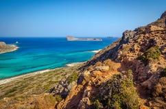 Mening over mooi Balos-strand en Gramvousa-eiland Stock Foto's
