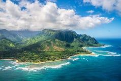 Mening over Napali-Kust op het eiland van Kauai op Hawaï Stock Foto