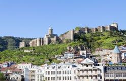 Mening over Narikala-vesting in de oude stad van Tbilisi Royalty-vrije Stock Foto's