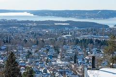 Mening over Oslo bij de winter stock foto's