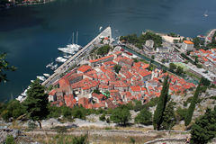 Mening over oude stad Kotor Royalty-vrije Stock Foto's
