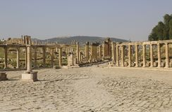 Mening over Ovale Plein Oude Roman stad van Gerasa van Antiquiteit, mo stock fotografie