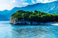 Mening over overzees en bergen in Montenegro Stock Foto
