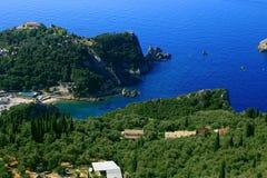 Mening over Paleokastritsa op het eiland van Korfu Stock Fotografie