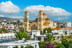 Mening over Paphos-stad royalty-vrije stock fotografie