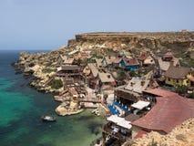 Mening over Popeye-dorp, Malta Royalty-vrije Stock Foto's