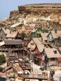 Mening over Popeye-dorp, Malta Stock Foto