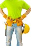 Mening over riem met hulpmiddelen op arbeiders dichte omhooggaand Royalty-vrije Stock Foto