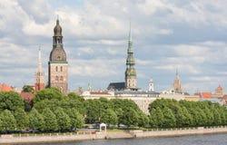 Mening over Riga, Letland Stock Foto's