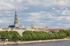 Mening over Riga, Letland Stock Foto