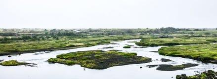 Mening over rivier met eiland Stock Afbeelding