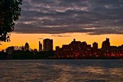 Mening over Rivier Theems, zonsondergang, Londen Engeland stock afbeelding