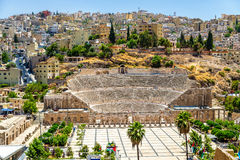 Mening over Roman Theater in Amman royalty-vrije stock afbeeldingen