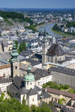 Mening over Salzburg van de vesting, Oostenrijk Stock Foto's