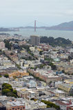 Mening over San Francisco & Golden gate bridge van Coit-Toren Stock Afbeelding