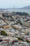 Mening over San Francisco & Golden gate bridge van Coit-Toren Royalty-vrije Stock Foto's