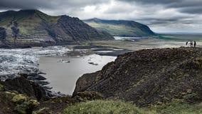 Mening over Skaftafell-gletsjertong in IJsland stock foto