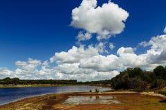 Mening over Sorraia-rivier in Santarem, Setubal, Portugal Royalty-vrije Stock Foto's