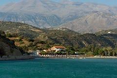 Mening over stad van Aghia Galini op het eiland van Kreta, Griekenland Aghia Galini is een kleine mooie visserijstad in een zuide Royalty-vrije Stock Foto