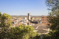 Mening over Tarrega-stad, Provincie van Lleida, Catalonië, Spanje Stock Fotografie