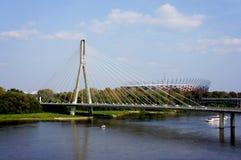 Mening over Vistula-rivier in Warshau Stock Afbeelding