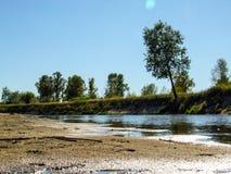 Mening over wilde Vistula-rivieroever in Jozefow dichtbij Warshau in Polen royalty-vrije stock fotografie
