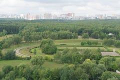 Mening over zuidwestelijk Moskou Stock Foto