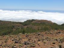 Mening tijdens stijging op Gr Pinar, boven de wolken Canarische Eilanden, Spanje Royalty-vrije Stock Fotografie