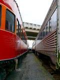 Mening tussen twee treinen bij een spoormuseum Stock Fotografie