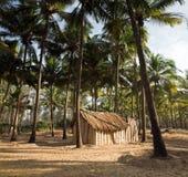 Mening van aardige exotische bamboehut Stock Afbeeldingen