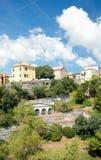 Mening van acient huizen, Genua, Italië Stock Foto's