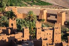 Mening van Ait Benhaddou Kasbah, Ait Ben Haddou, Ouarzazate, Morocc Royalty-vrije Stock Foto