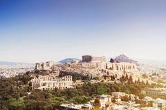 Mening van Akropolis en de stad van Athene, Griekenland Royalty-vrije Stock Foto's