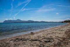 Mening van alcudia Mallorca Strand in Mallorca royalty-vrije stock foto's