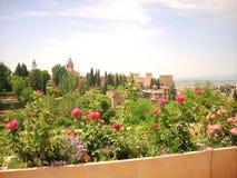 Mening van alhambra in Granada Stock Afbeeldingen