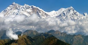Mening van Annapurna Himal van Jaljala-pas Stock Fotografie