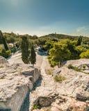 Mening van Areopagus-Heuvel, de Heuvel van Mars, Athene, Griekenland Royalty-vrije Stock Fotografie